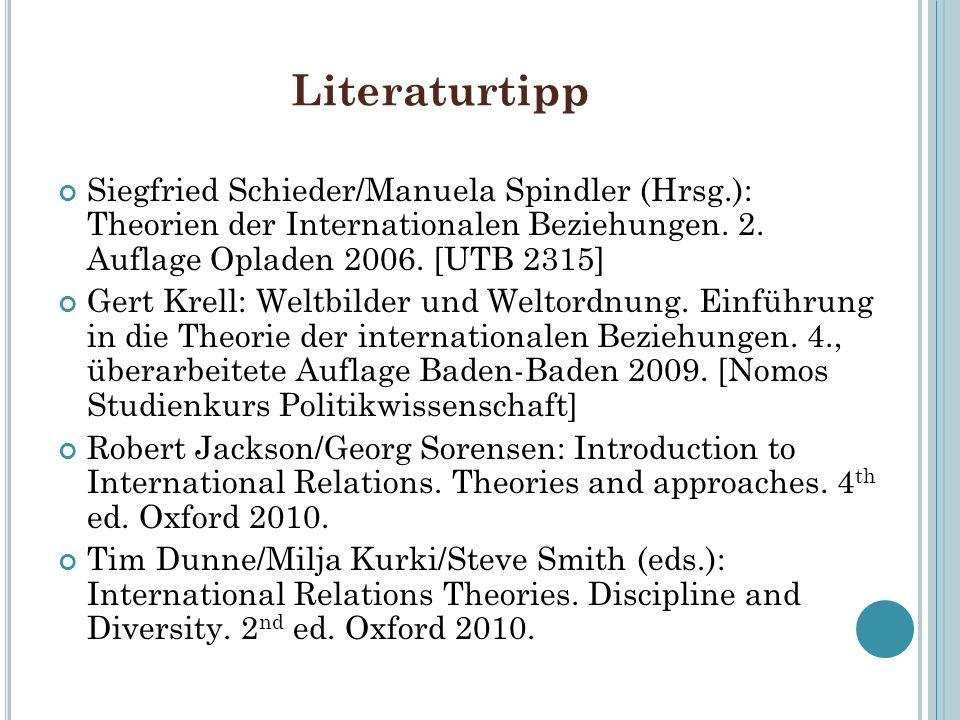 LiteraturtippSiegfried Schieder/Manuela Spindler (Hrsg.): Theorien der Internationalen Beziehungen. 2. Auflage Opladen 2006. [UTB 2315]